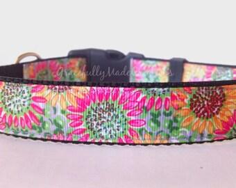 Floral Dog Collar - Adjustable Dog Collar - Summer Dog Collar - Spring Dog Collar - Sunflower Dog Collar