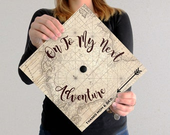 Graduation Cap Decal | On To My Next Adventure | Cursive | DOWNLOAD ONLY