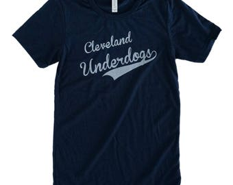 Unisex Solid Navy Tri-Blend Supersoft Tee with 'Cleveland Underdogs' in Gold Ink