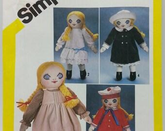 1980s Melissa Victorian Doll and Wardrobe Pattern Simplicity 5784 18inch victorian doll wardrobe pattern