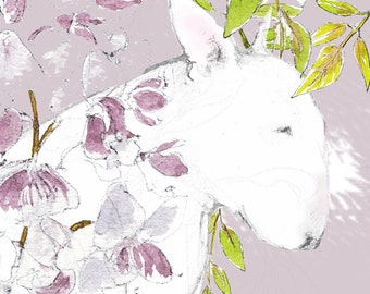 English Bull Terrier Wisteria Blank Card
