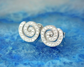 spiral white zircon silver stud earrings, spiral earrings, white zircon earrings, greek earrings, greek jewelry, spiral studs, white zircon