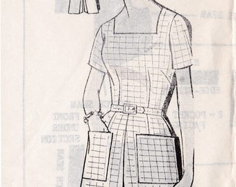 FF Vintage 1960s Mail Order Patt-O-Rama 8177 Jumper shorts pants suit Large Pockets Square Neck Sewing Pattern, Size 14 1/2, Bust 35, UNUSED