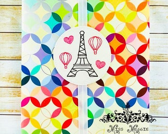 Eiffel Tower Love bookmark ITH Embroidery design file