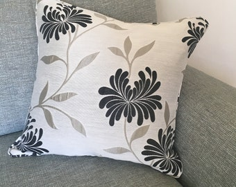 Charcoal and grey flower pattern cushion cover