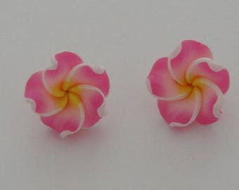 2 flowers polymer clay pink yellow - Ref: PF 712