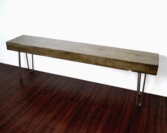 Reclaimed Wood Bench Or TV Console Industrial Factory Beam On Hairpin Legs