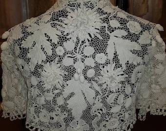 Exquisite Antique Irish Crochet Lace Wedding Bridal Bolero Shrug Jacket Three Dimensional Chrysanthemums Acorns