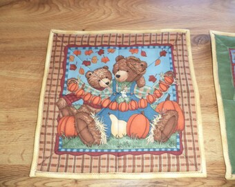 Autumn Snack Mat, Teddy Bears, Candle Mat, Mug Rug, Mini Quilt, Ready to Ship