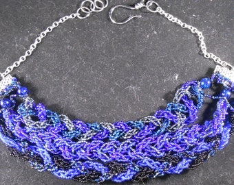 Necklace - Blues & Black Beads Braided