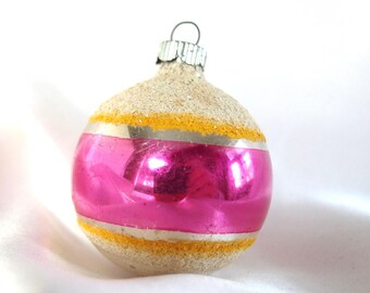 Vintage Shiny Brite Christmas Ornament - Hot Pink, White Mica Striped Ornament