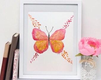 Playroom art, Butterfly Painting, Watercolor nursery art, Pink butterfly Print, Original boho painting, whimsical artwork, Pink and orange