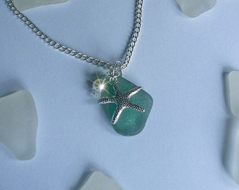 Green sea glass necklace. Starfish sea beach glass necklace.