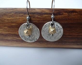 Earrings - stainless steel ear hooks - metal charm