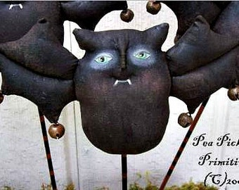 BATS, Ding Bats, Primitive, Folk Art, Doll, PATTERN by Pea Picker's Primitives