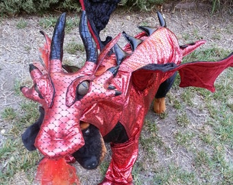 Red Dragon costume for Dogs by TKCCOZYPAWZ