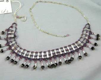 Amethyst ladder st  adjustable necklace