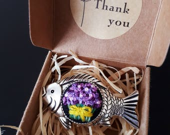 Embroidery brooch with lavender in fish