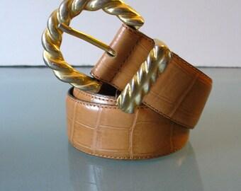 Made in Italy Jacqueline Ferrar Faux Alligator Leather Belt Size M