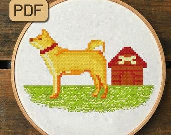 Pixel Dog Cross Stitch Patterns Modern Needlepoint Design Decor Animal Embroidery Hoop Art Pet Cute Xstitch Needlecraft Instant Download Pdf