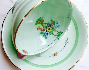 Wellington China Art Nouveau Mint Green Pink Handled Tea Cup and Saucer
