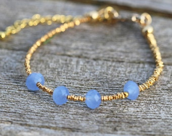 Aqua Blue Chalcedony Faceted Rondelle Bracelet