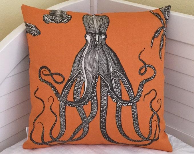 Thomas Paul for Duralee Adriatic in Papaya Octopus Design Indoor Outdoor Designer Pillow Cover - Square and Euro Sizes