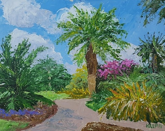"Fairchild Botanical Gardens, acrylics on canvas panel, 12""x16"", original, signed, plein air"