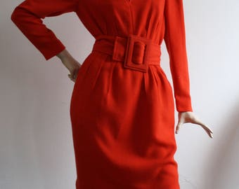 Vintage early 1980s ALBERT NIPON Tailored Wool Crepe Red Dress UK10