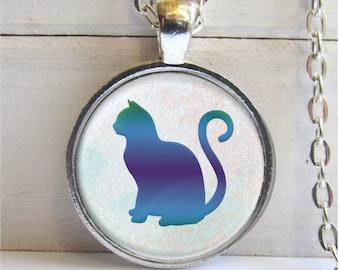 Cat Pendant, Cat Silhouette Necklace, Cat Jewelry, Cat Necklace