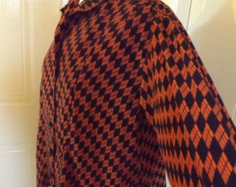 vintage 80s baggy geometric print blouse red large 14 16