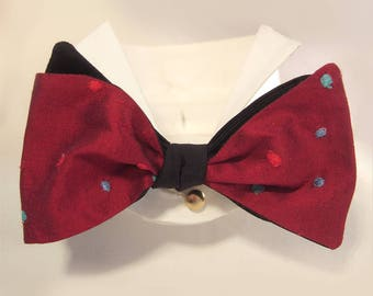 Reversible Embroidered Spotty Red & Black Silk