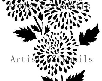 STENCIL Chrysanthemum Flower