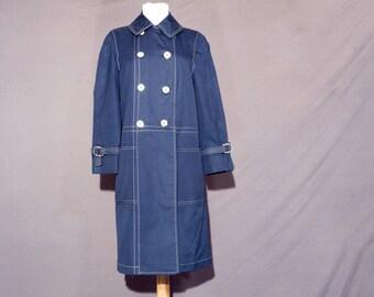 Lightweight coat - navy blue with off white stitching - ladies medium petite - Misty Harbor
