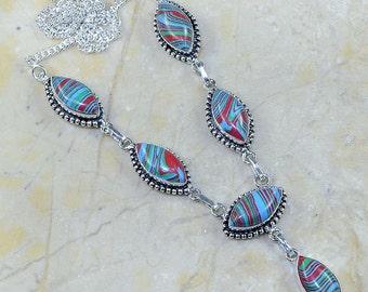 "Blue Mosaic Jasper Necklace Princess Style 19 1/2"""