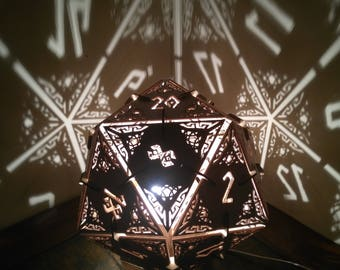 D20 Dungeons And Dragons Dice   Desk Lamp, Geometric Lighting, Wood Lamp,  Shadow