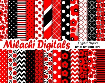 60% OFF SALE Poppy digital paper, floral scrapbook papers, poppy flower wallpaper, red and black background, chevron, polka dots - M392