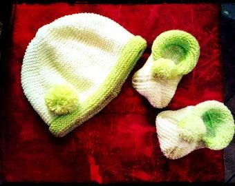 Hat and booties newborn-3 months handmade