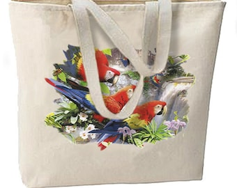 Tropical Amazon Parrots New Large Canvas Tote Bag