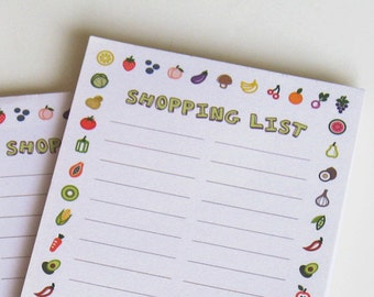 magnetic shopping list notepad with illustrations of fruit and vegetables