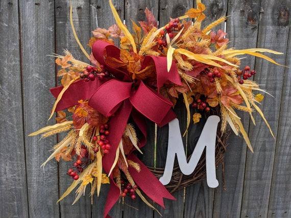Fall / Autumn Wreath with Monogram Option, Fall Decoration, Fall Door Wreath, Fall Letter Wreath