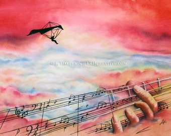 Music Gives You Wings - Watercolor Music Premium Quality Giclee Print