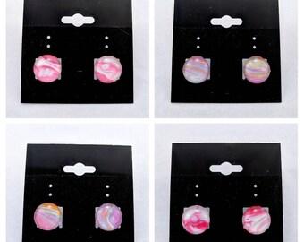 Pink and Purple stud earrings, fluid art