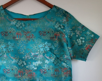 little china girl...ladies short sleeved shell top in vintage embroidered stain