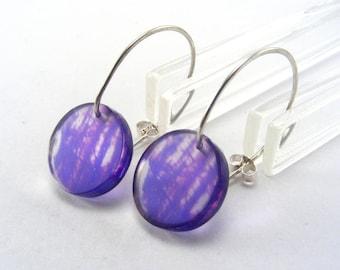 Round Purple Drops - Perspex Mini earrings - purple acrylic earrings - mini perspex hook earrings - purple circle drop - mini dangle earring