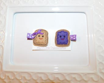 Peanut Butter and Jelly Hair Clip Set