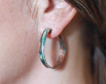 Hoops Copper Silver Brass Blue Patina - Studs - Unusual Copper Hoops - Big Round Hoops - Narrow - Fused Copper Hoops - Handmade in BC Canada