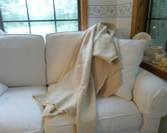 Custom Made Linen Throw Custom Colors Frayed  Edge Linen Blanket Custom Linen Bedding French Country Cottage Style