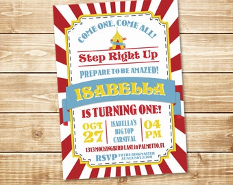 PRINTED Big Top Carnival Circus 5x7 Birthday Invitation with envelope in red, blue, and yellow
