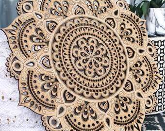 60cm Boho Hand Painted Wooden Henna Mandala II Wall Hanging (Bohemian Home Decor/Art/Interior Design)